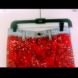 maxon Skirts - Maxon Sequined Skirt With Bluejean Waistband